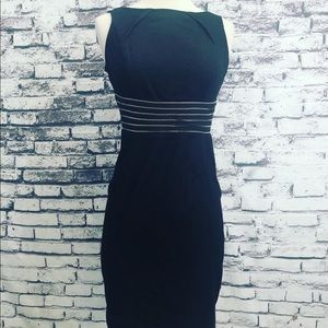London Times Dark Denim Sexy Zipper Dress